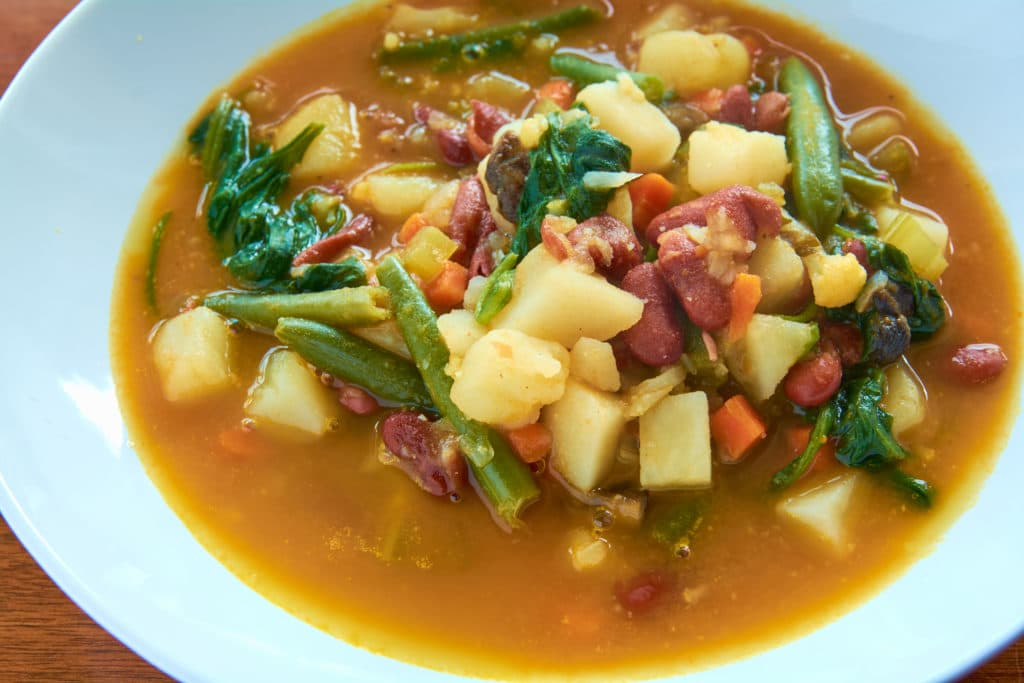 Comforting soup safe for gout / and vegans. This delicious soup is loaded with fresh vegetables and red beans for protein.  #soup #veganrecipe #gout
