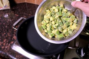 Add Okra to Pan