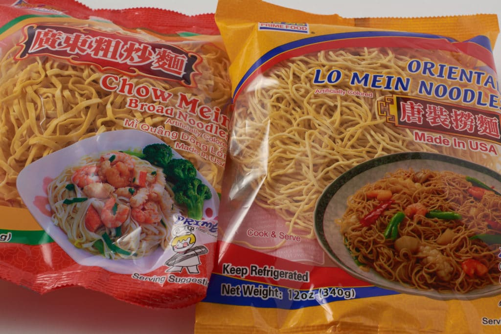 Chow Mein and Lo Mein Noodles in bags