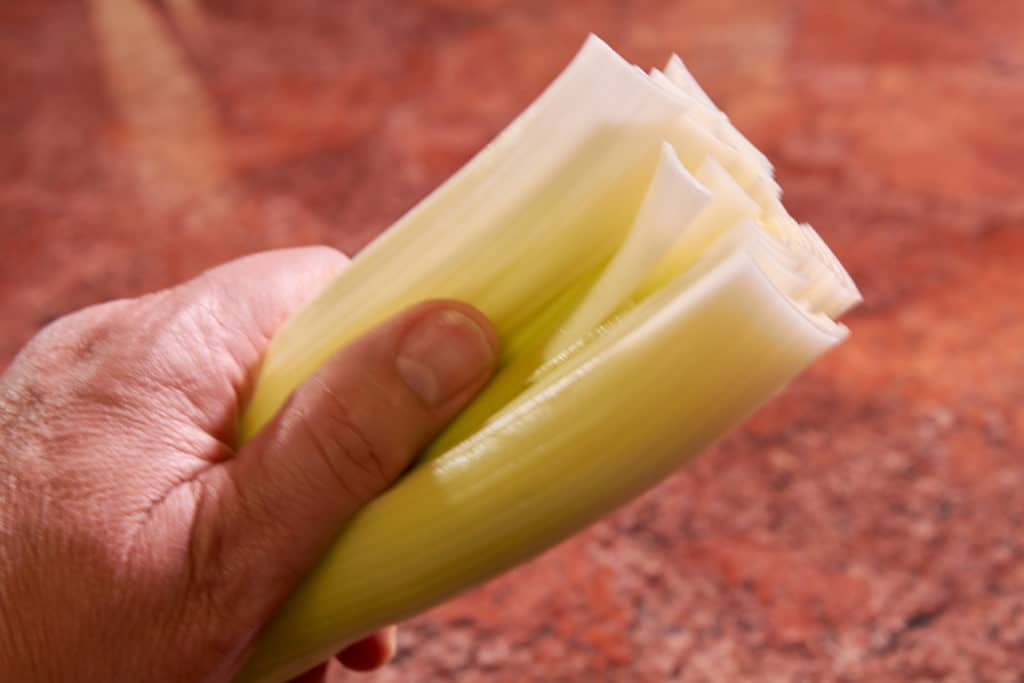 Bottom of leek showing that it has been claned