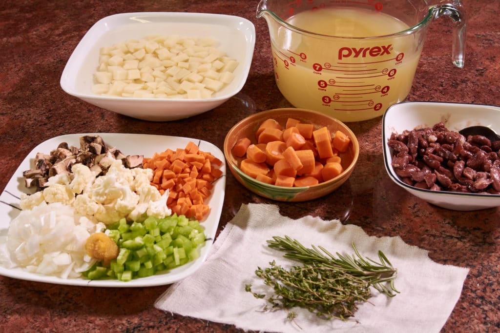 Soup ingredients on the counter