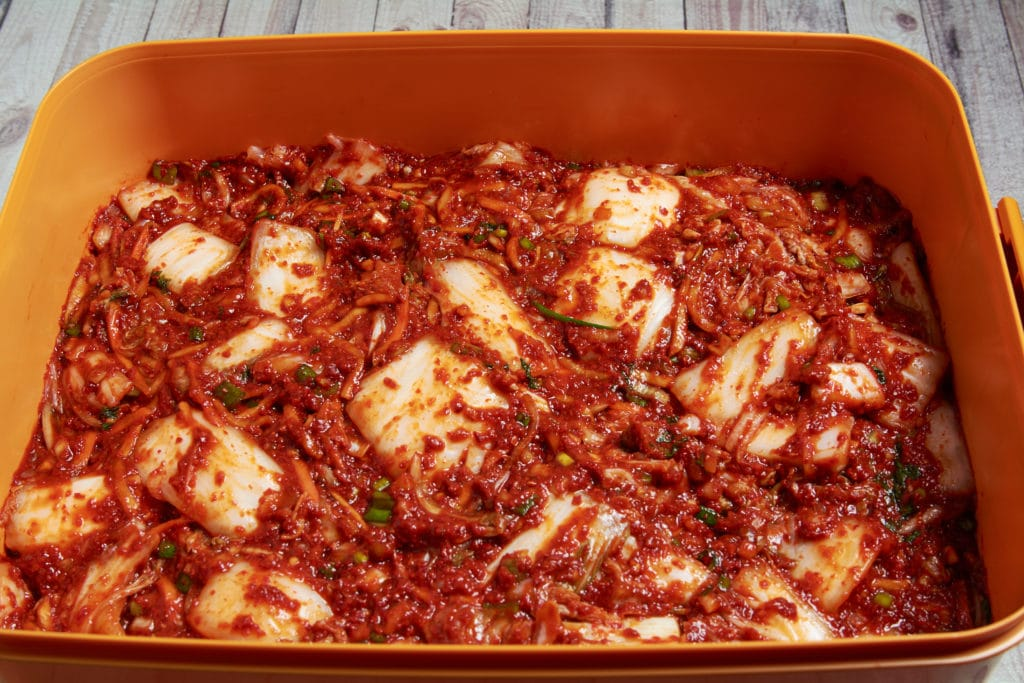 Finished kimchi in a container