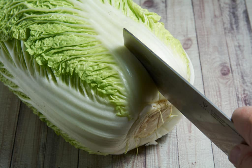 A knife cutting a head of cabbage