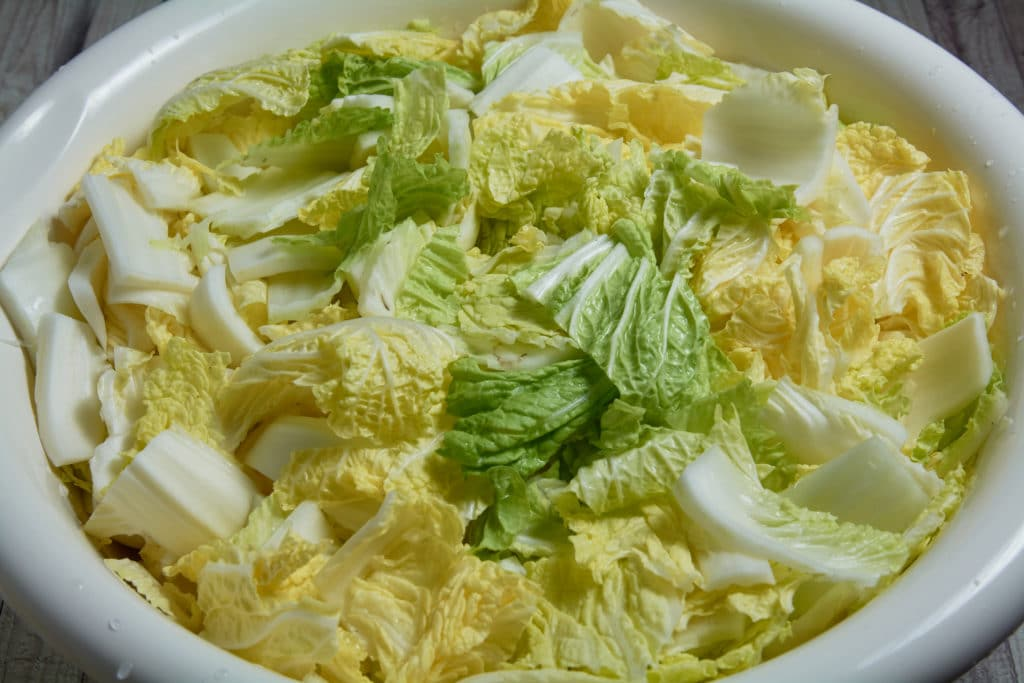 Cabbage cut into small pieces in a bowl