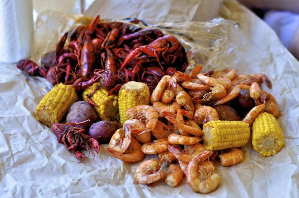 Shrimp and crawfish with corn and potatoes