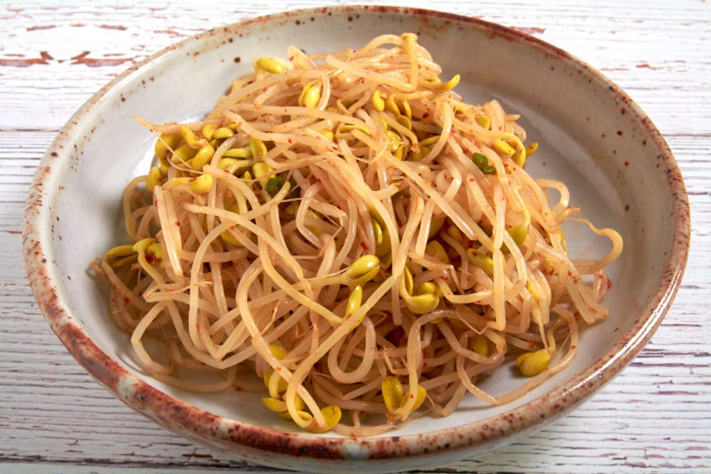 Cooked bean sprouts in a bowl