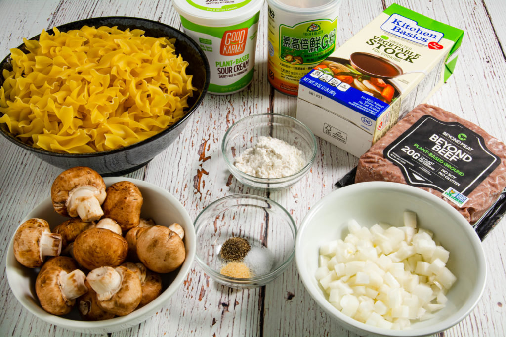 Stroganoff ingredients on a table