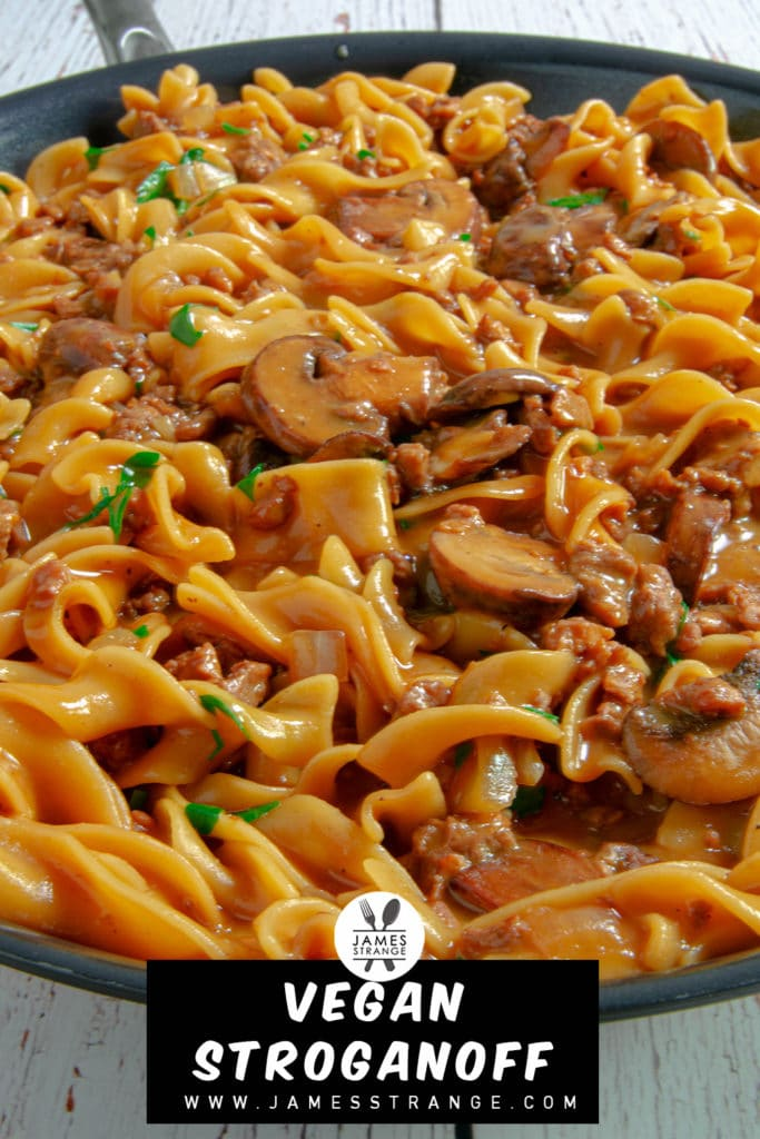 Vegan Stroganoff in a pan, this is a pin for pinterest.