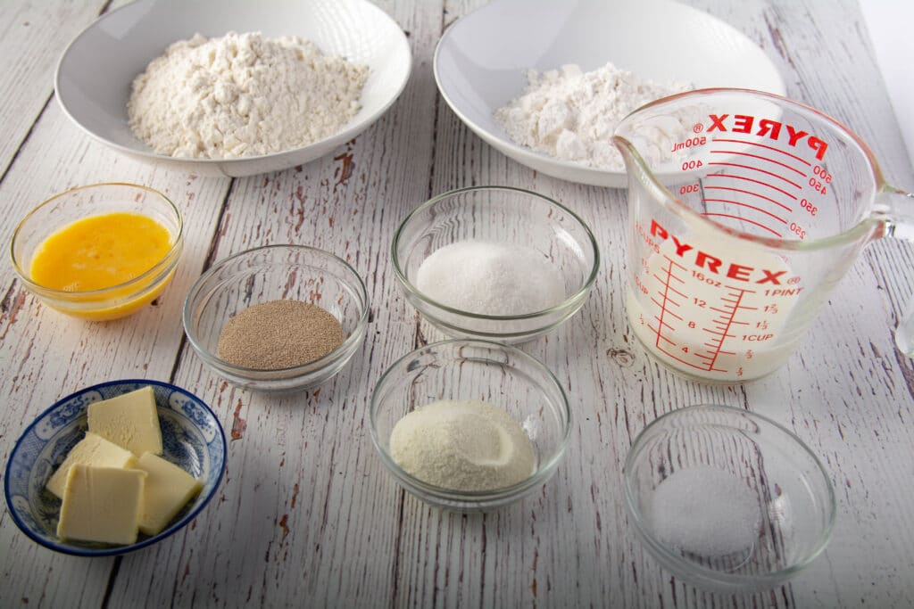 Ingredients for Korean Streusel Bread dough on a table