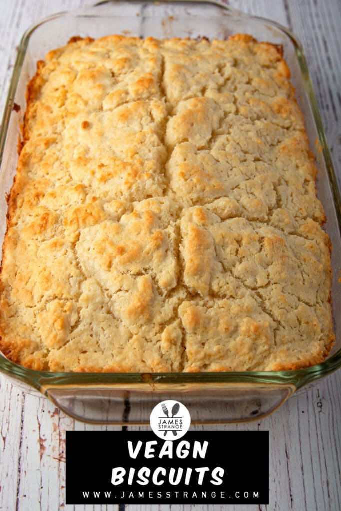 A pan of vegan biscuits, this is a picture for pinning to Pinterest