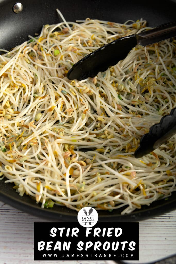 Finished dish of stir fried bean sprouts in a pan. This is a pin for Pinterest
