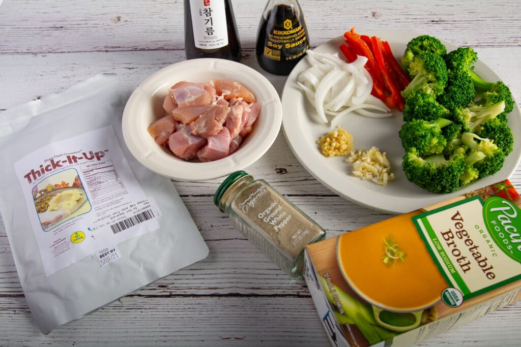 Recipe ingredients laid out on a table