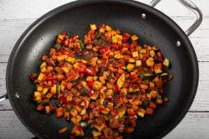 Cooked veggies in the pan