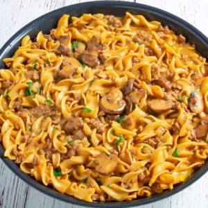 Vegan stroganoff in a pan on a table