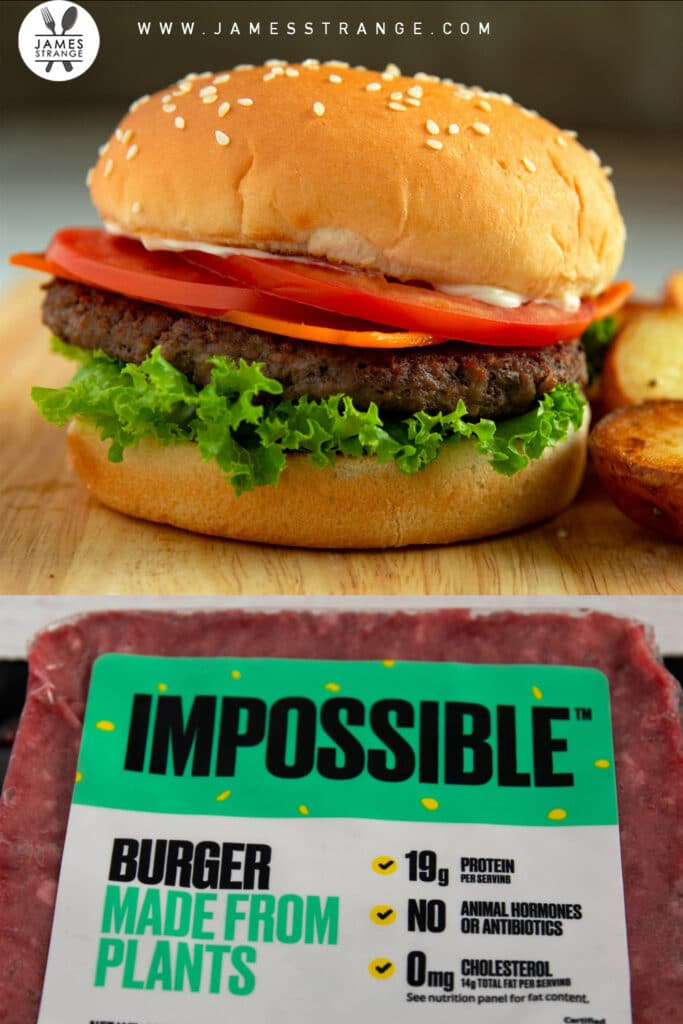 Finished burger and a package of the Impossible burger. This is a pin for Pinterest.