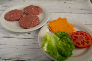 Burger ingredients on a table