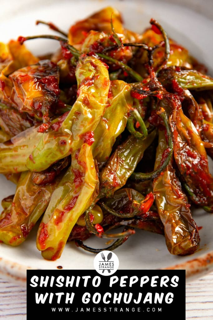 Blistered peppers with a spicy sauce in a bowl. This is a pin for Pinterest