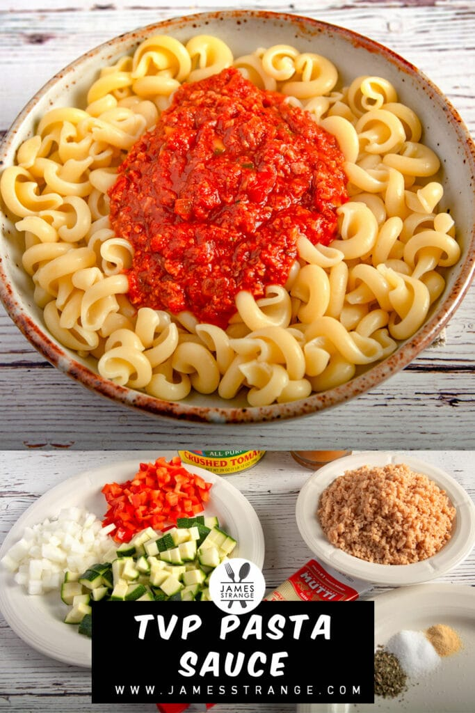 A bowl of pasta topped with sauce. This is a pin for Pinterest.