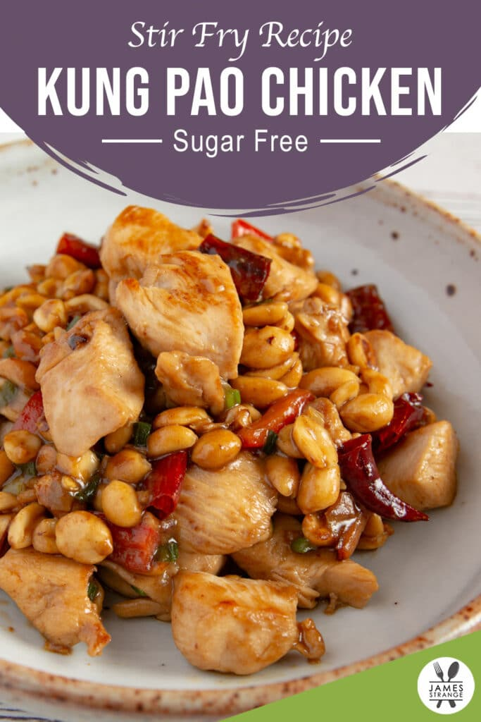Kung pao chicken on a plate, this is a Pin for Pinterest