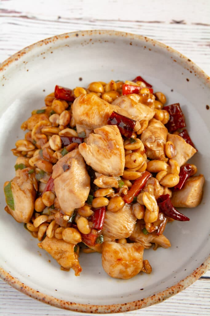 Finished kung pao chicken on a plate