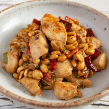 Kung pao chicken on a plate