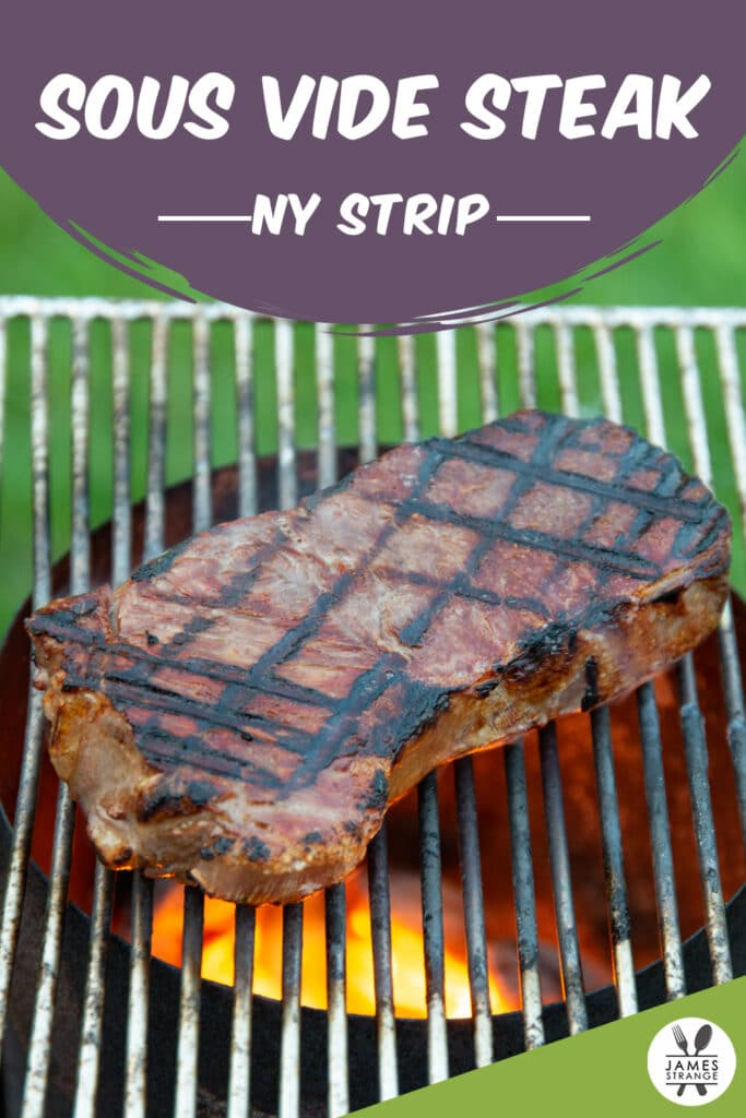 Steak cooking on a grill, this is a pin for Pinterest