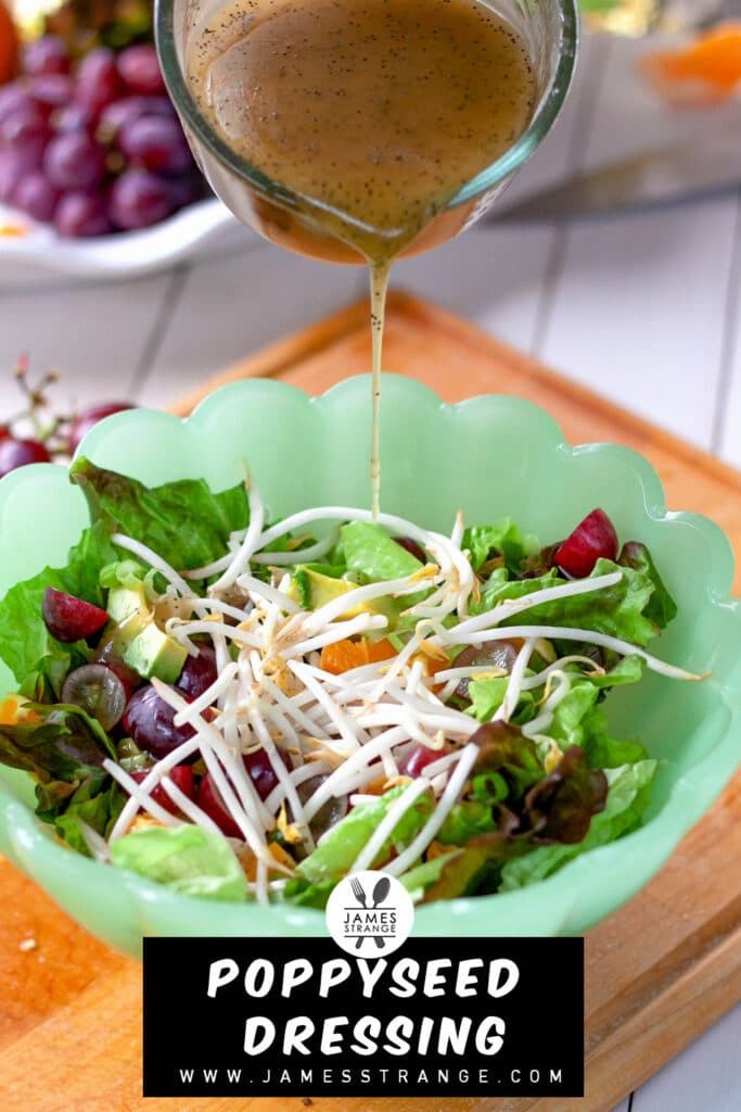 Pouring salad dressing onto a bowl of salad
