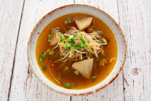 Photo of beef and radish soup in a bowl.