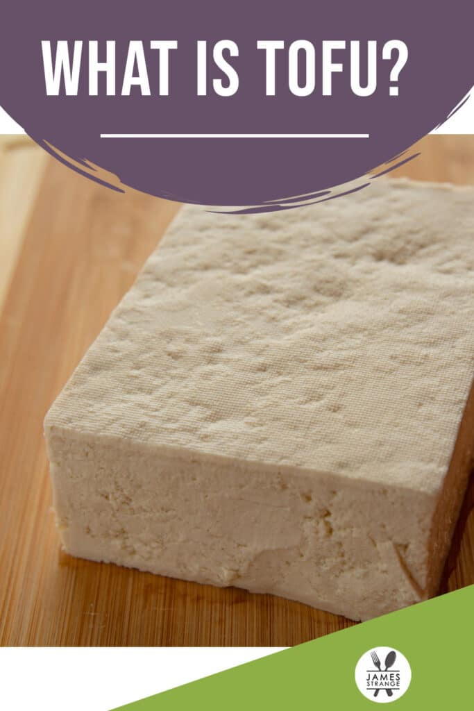 Block of tofu on a cutting board, this is a pin for pinterest