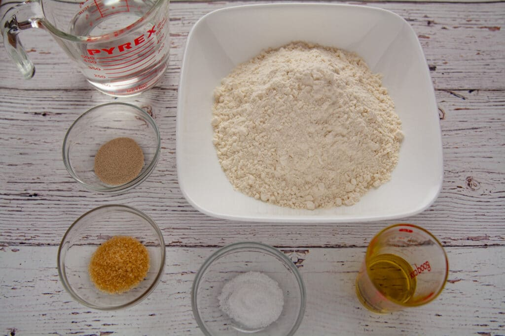 Dough ingredients on a table