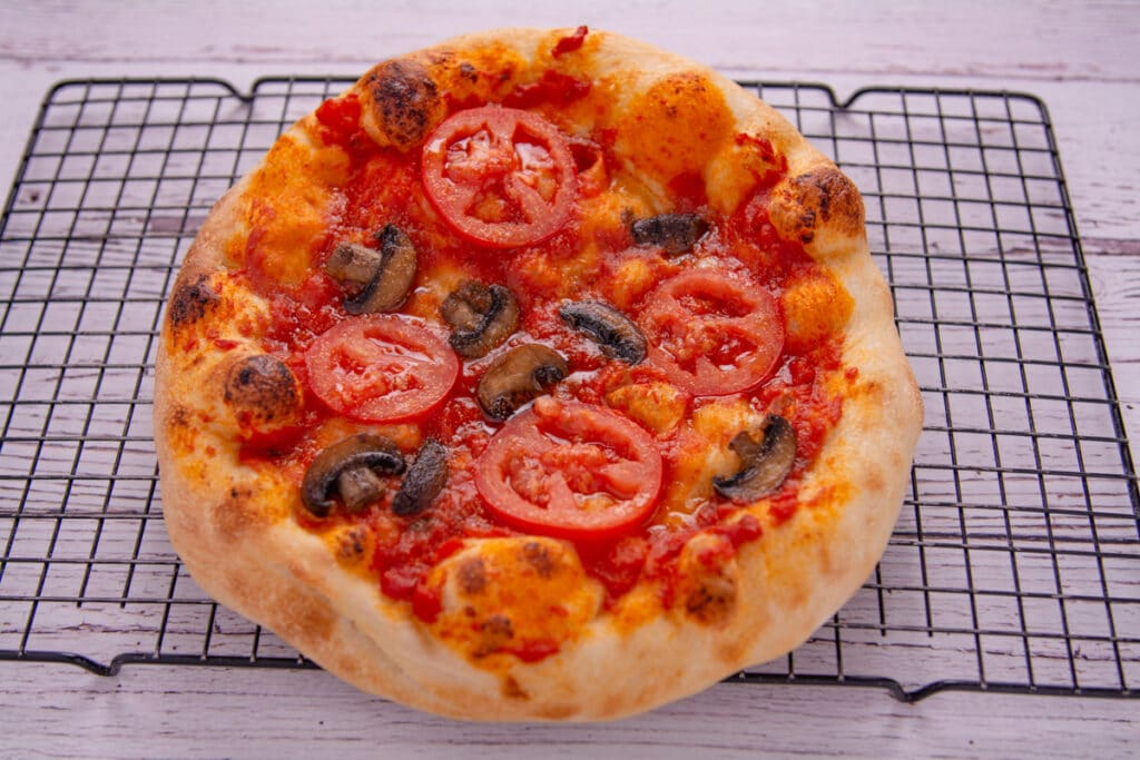 Vegan pizza fresh out of the oven